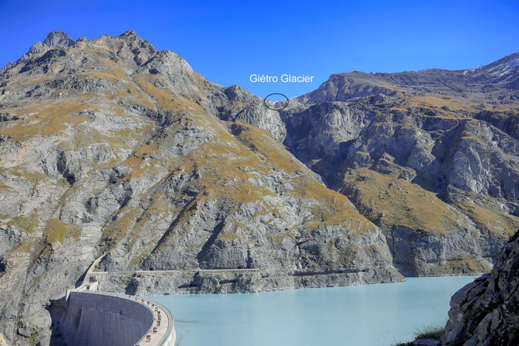 le barrage de Mauvoisin et le glacier du Giétro en 2018